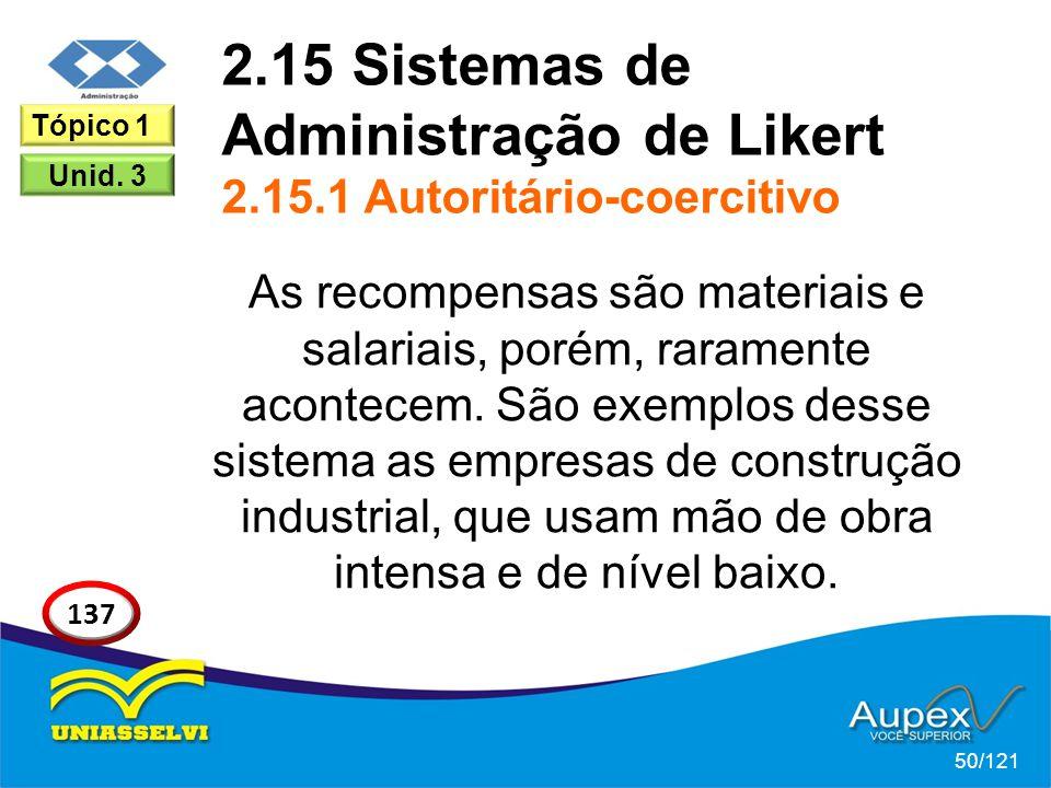 2.15 Sistemas de Administração de Likert 2.15.1 Autoritário-coercitivo As recompensas são materiais e salariais, porém, raramente acontecem. São exemp