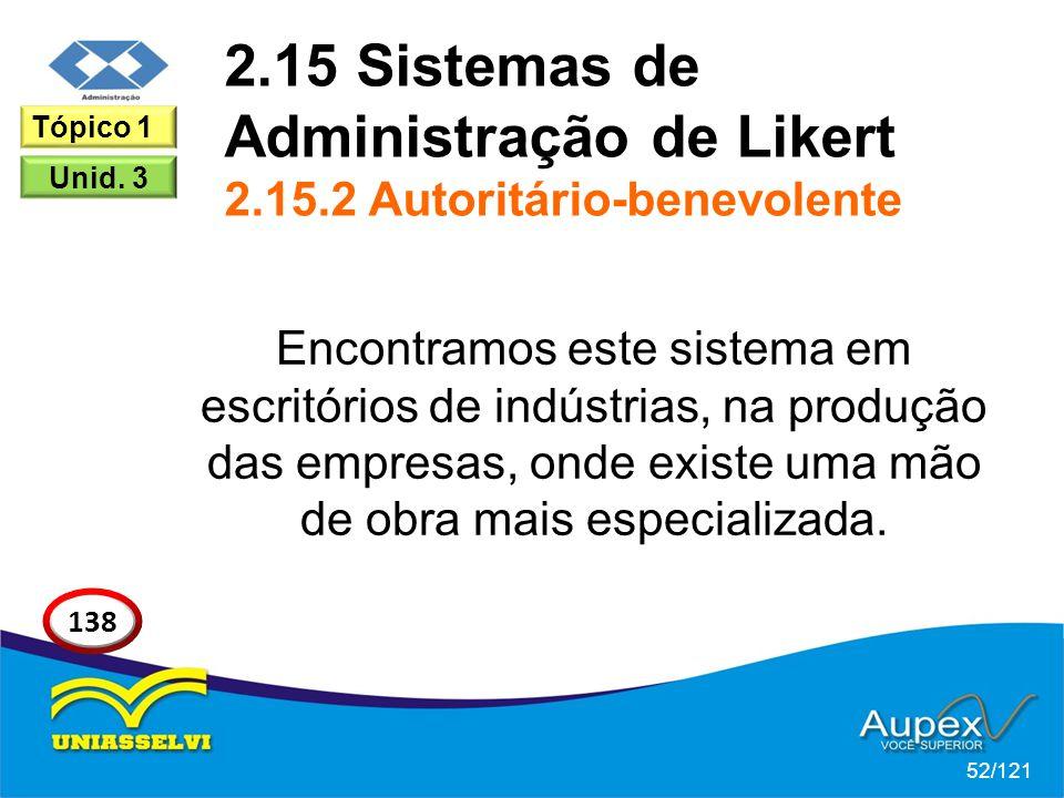 2.15 Sistemas de Administração de Likert 2.15.2 Autoritário-benevolente Encontramos este sistema em escritórios de indústrias, na produção das empresa