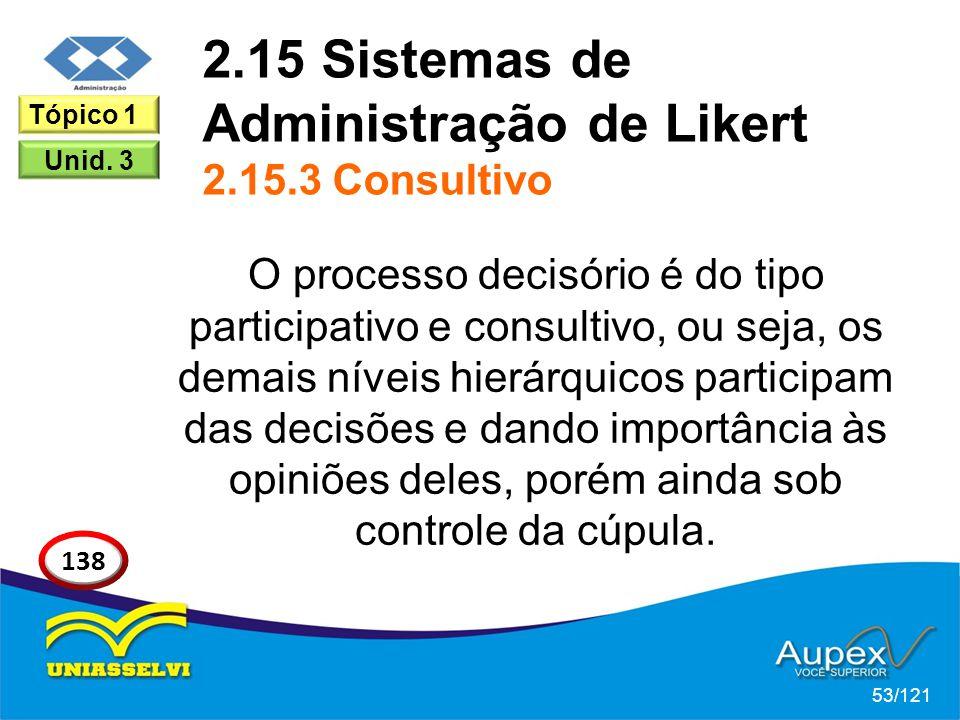 2.15 Sistemas de Administração de Likert 2.15.3 Consultivo O processo decisório é do tipo participativo e consultivo, ou seja, os demais níveis hierárquicos participam das decisões e dando importância às opiniões deles, porém ainda sob controle da cúpula.