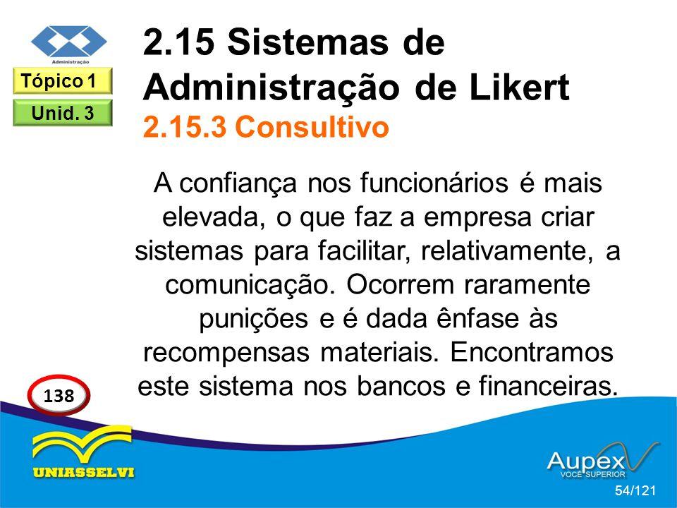 2.15 Sistemas de Administração de Likert 2.15.3 Consultivo A confiança nos funcionários é mais elevada, o que faz a empresa criar sistemas para facilitar, relativamente, a comunicação.