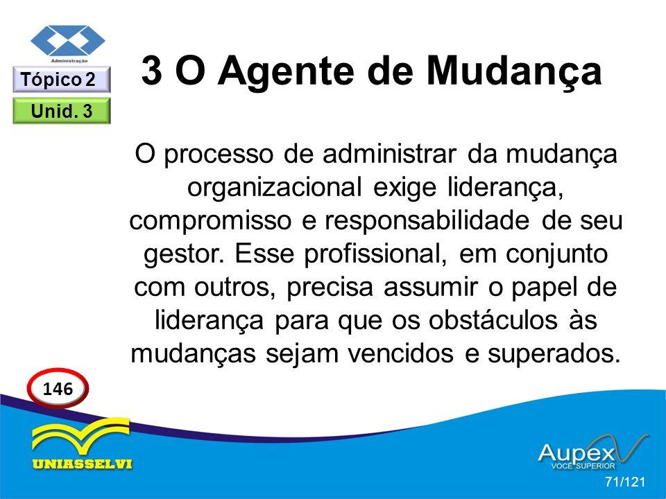 3 O Agente de Mudança O processo de administrar da mudança organizacional exige liderança, compromisso e responsabilidade de seu gestor. Esse profissi