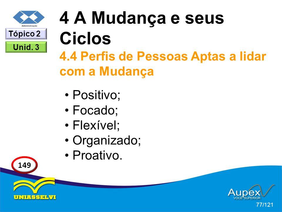 4 A Mudança e seus Ciclos 4.4 Perfis de Pessoas Aptas a lidar com a Mudança Positivo; Focado; Flexível; Organizado; Proativo. 77/121 Tópico 2 149 Unid