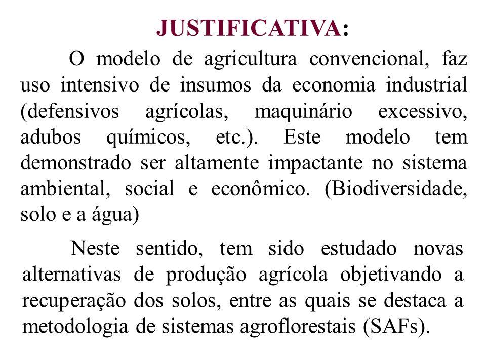 JUSTIFICATIVA: O modelo de agricultura convencional, faz uso intensivo de insumos da economia industrial (defensivos agrícolas, maquinário excessivo,
