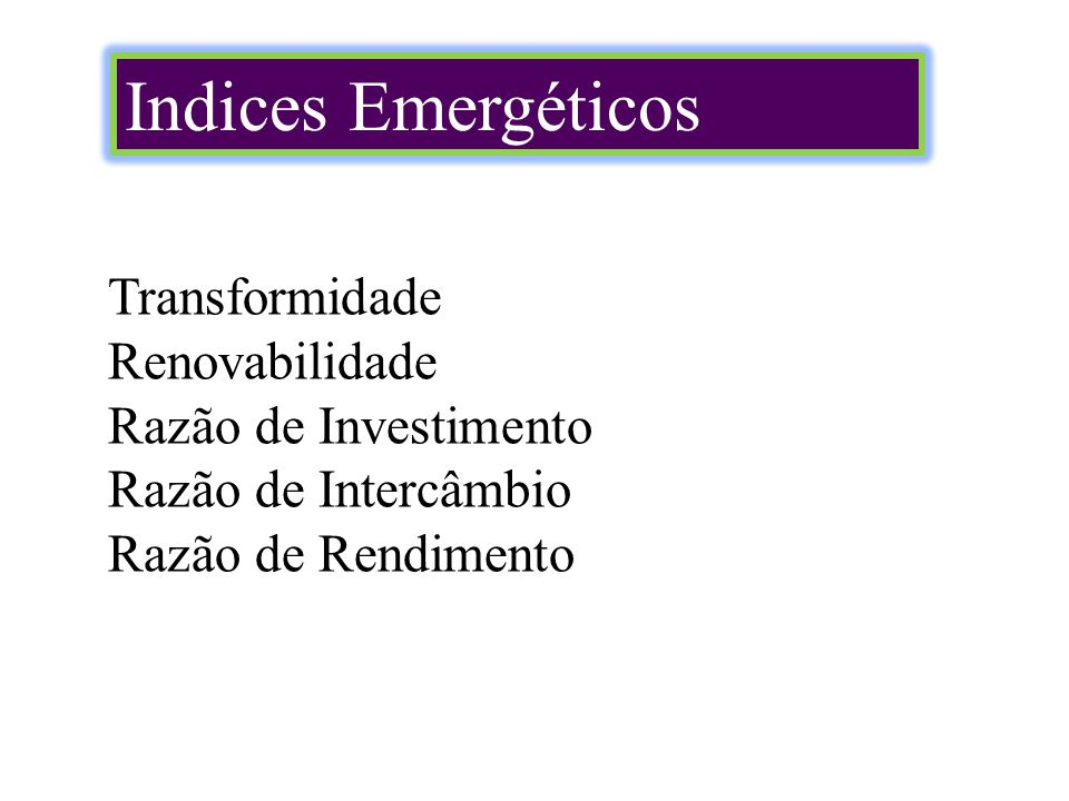 Indices Emergéticos Transformidade Renovabilidade Razão de Investimento Razão de Intercâmbio Razão de Rendimento