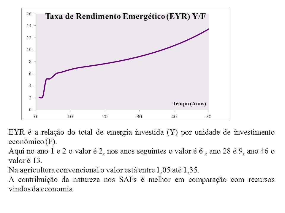 EYR é a relação do total de emergia investida (Y) por unidade de investimento econômico (F). Aqui no ano 1 e 2 o valor é 2, nos anos seguintes o valor