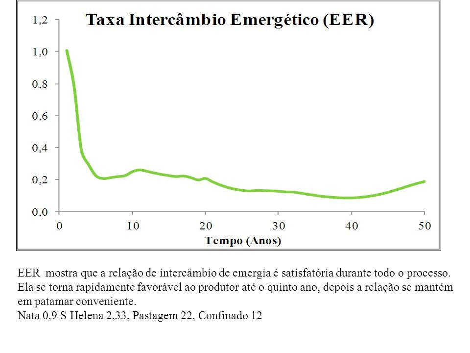 EER mostra que a relação de intercâmbio de emergia é satisfatória durante todo o processo. Ela se torna rapidamente favorável ao produtor até o quinto