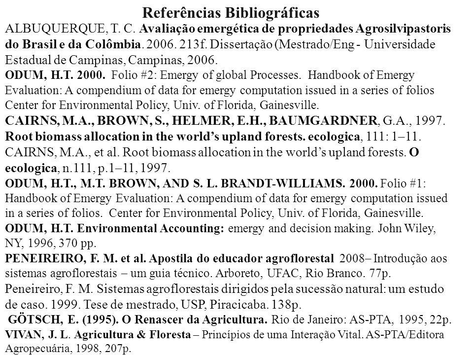 Referências Bibliográficas ALBUQUERQUE, T. C. Avaliação emergética de propriedades Agrosilvipastoris do Brasil e da Colômbia. 2006. 213f. Dissertação