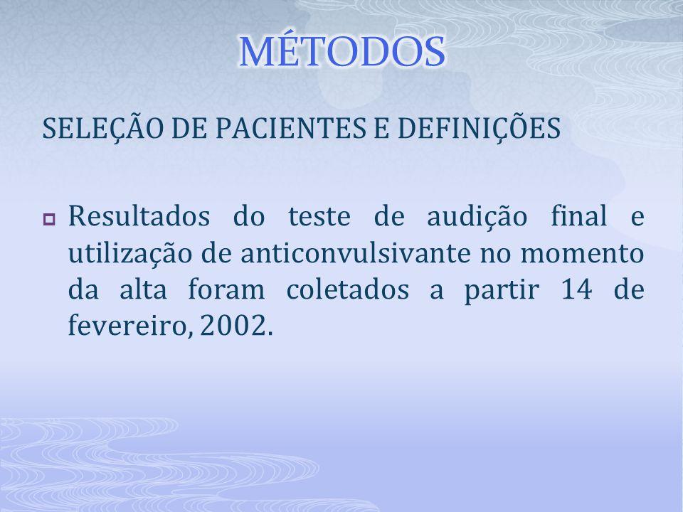 SELEÇÃO DE PACIENTES E DEFINIÇÕES  Resultados do teste de audição final e utilização de anticonvulsivante no momento da alta foram coletados a partir
