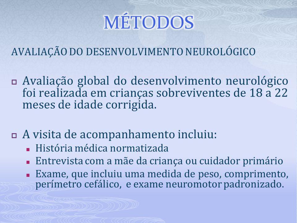 AVALIAÇÃO DO DESENVOLVIMENTO NEUROLÓGICO  Avaliação global do desenvolvimento neurológico foi realizada em crianças sobreviventes de 18 a 22 meses de idade corrigida.