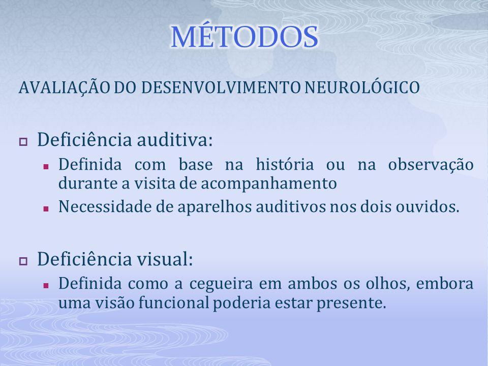 AVALIAÇÃO DO DESENVOLVIMENTO NEUROLÓGICO  Deficiência auditiva: Definida com base na história ou na observação durante a visita de acompanhamento Nec