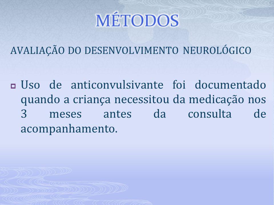 AVALIAÇÃO DO DESENVOLVIMENTO NEUROLÓGICO  Uso de anticonvulsivante foi documentado quando a criança necessitou da medicação nos 3 meses antes da consulta de acompanhamento.
