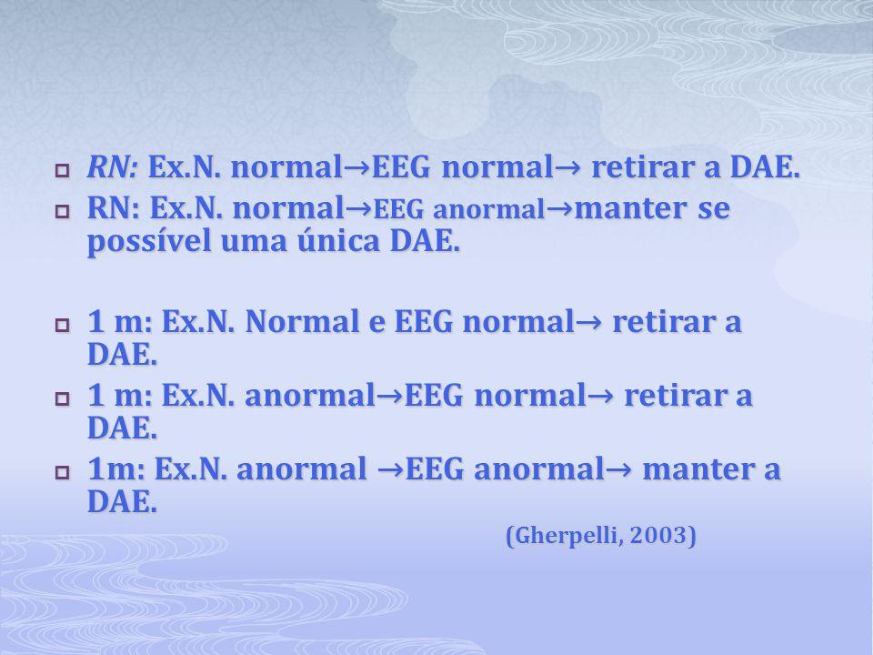  RN: Ex.N. normal→EEG normal→ retirar a DAE.  RN: Ex.N. normal→ EEG anormal →manter se possível uma única DAE.  1 m: Ex.N. Normal e EEG normal→ ret