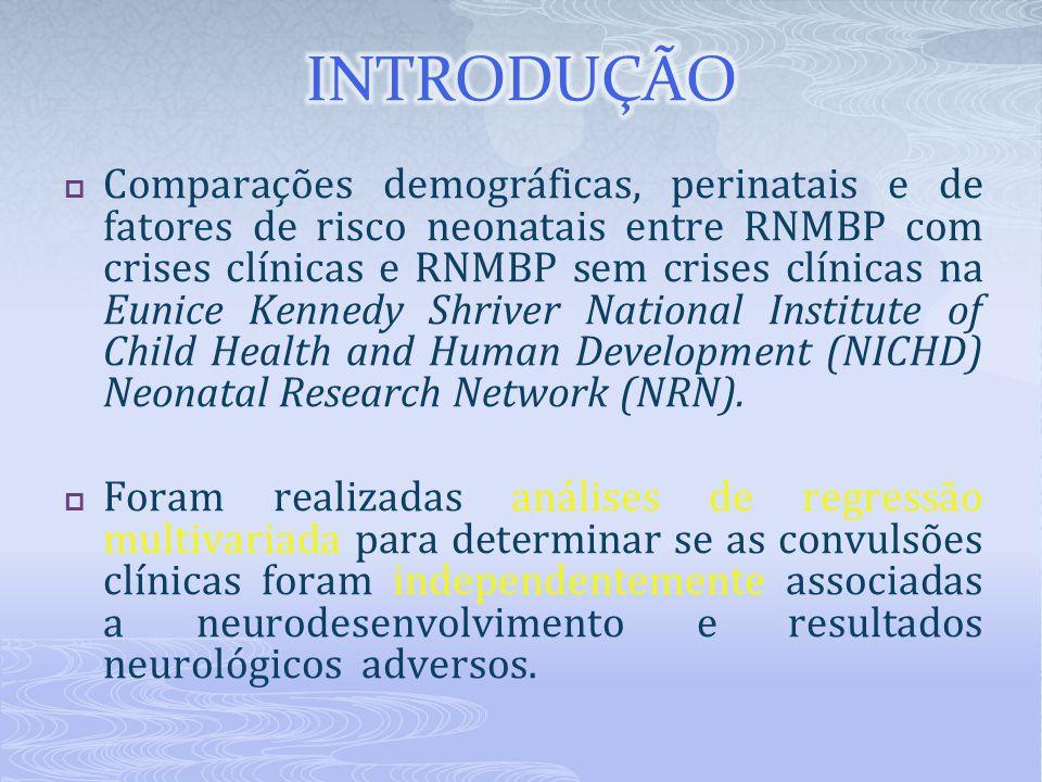  Comparações demográficas, perinatais e de fatores de risco neonatais entre RNMBP com crises clínicas e RNMBP sem crises clínicas na Eunice Kennedy S