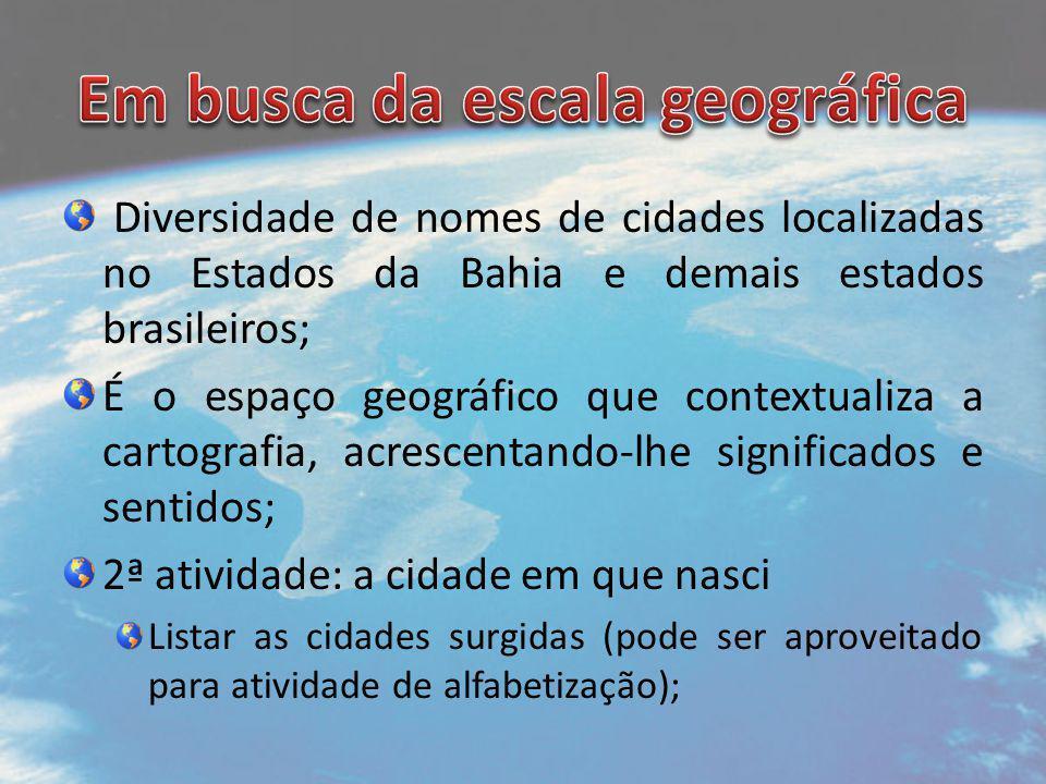 Diversidade de nomes de cidades localizadas no Estados da Bahia e demais estados brasileiros; É o espaço geográfico que contextualiza a cartografia, a