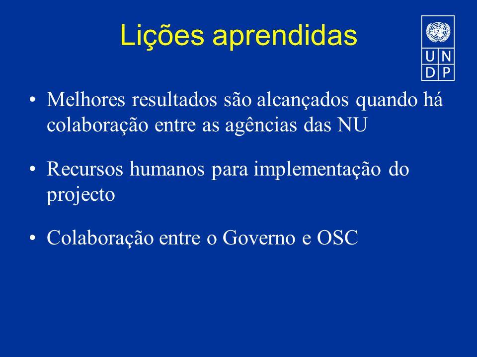 Lições aprendidas Melhores resultados são alcançados quando há colaboração entre as agências das NU Recursos humanos para implementação do projecto Colaboração entre o Governo e OSC