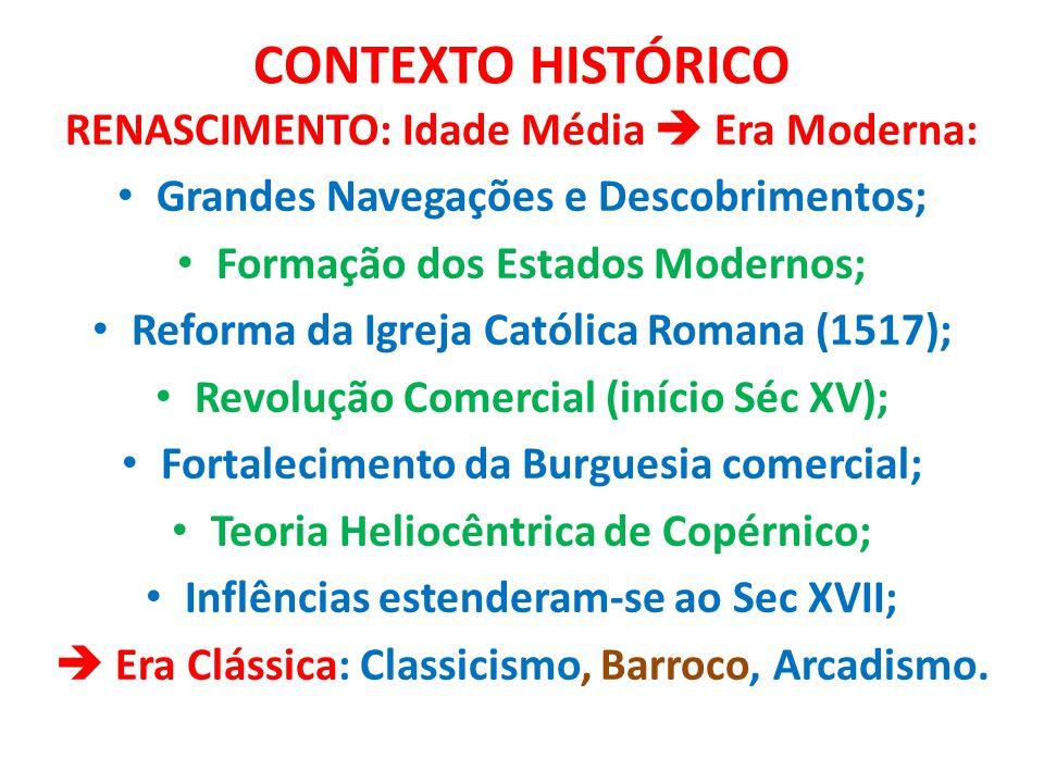 CONTEXTO HISTÓRICO RENASCIMENTO: Idade Média  Era Moderna: Grandes Navegações e Descobrimentos; Formação dos Estados Modernos; Reforma da Igreja Cató