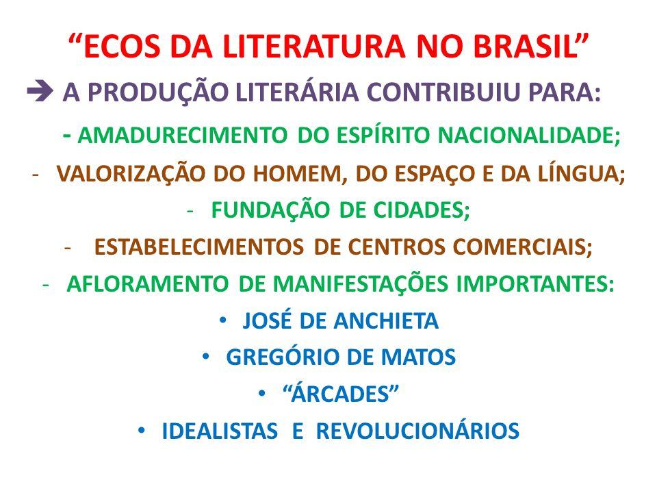 """""""ECOS DA LITERATURA NO BRASIL""""  A PRODUÇÃO LITERÁRIA CONTRIBUIU PARA: - AMADURECIMENTO DO ESPÍRITO NACIONALIDADE; -VALORIZAÇÃO DO HOMEM, DO ESPAÇO E"""