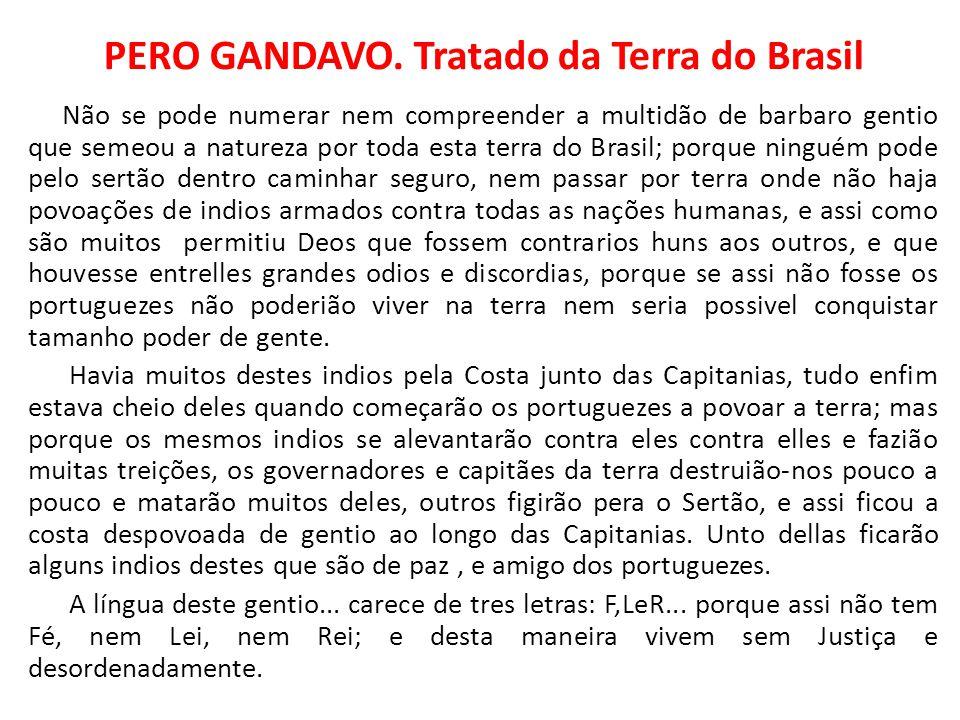 PERO GANDAVO. Tratado da Terra do Brasil Não se pode numerar nem compreender a multidão de barbaro gentio que semeou a natureza por toda esta terra do