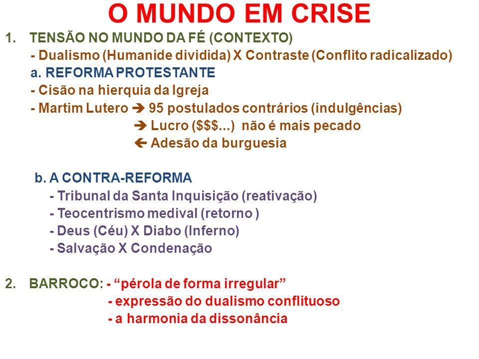 O MUNDO EM CRISE 1.TENSÃO NO MUNDO DA FÉ (CONTEXTO) - Dualismo (Humanide dividida) X Contraste (Conflito radicalizado) a. REFORMA PROTESTANTE - Cisão