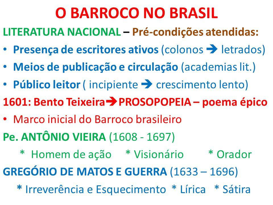 O BARROCO NO BRASIL LITERATURA NACIONAL – Pré-condições atendidas: Presença de escritores ativos (colonos  letrados) Meios de publicação e circulação