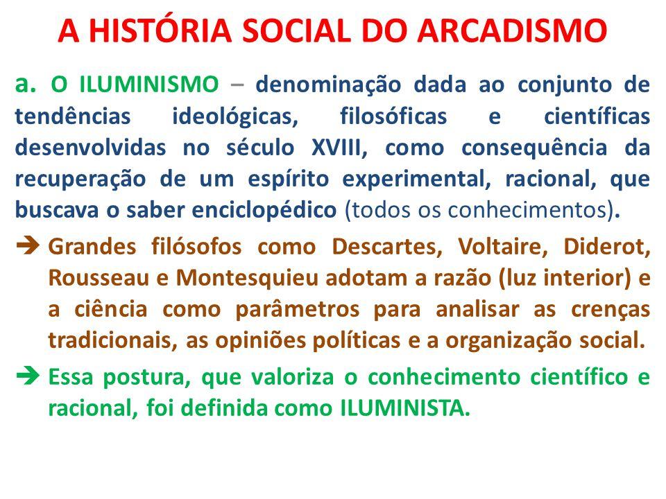 A HISTÓRIA SOCIAL DO ARCADISMO a. O ILUMINISMO – denominação dada ao conjunto de tendências ideológicas, filosóficas e científicas desenvolvidas no sé