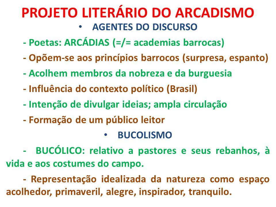 PROJETO LITERÁRIO DO ARCADISMO AGENTES DO DISCURSO - Poetas: ARCÁDIAS (=/= academias barrocas) - Opõem-se aos princípios barrocos (surpresa, espanto)