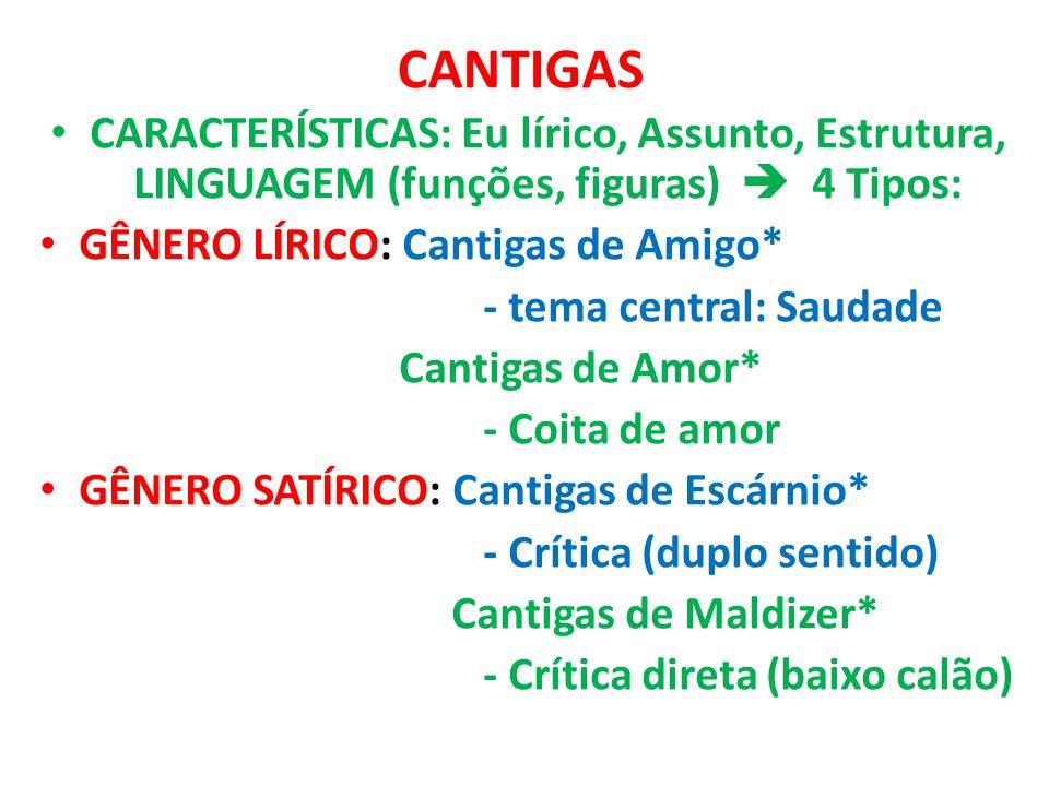 CANTIGAS CARACTERÍSTICAS: Eu lírico, Assunto, Estrutura, LINGUAGEM (funções, figuras)  4 Tipos: GÊNERO LÍRICO: Cantigas de Amigo* - tema central: Sau