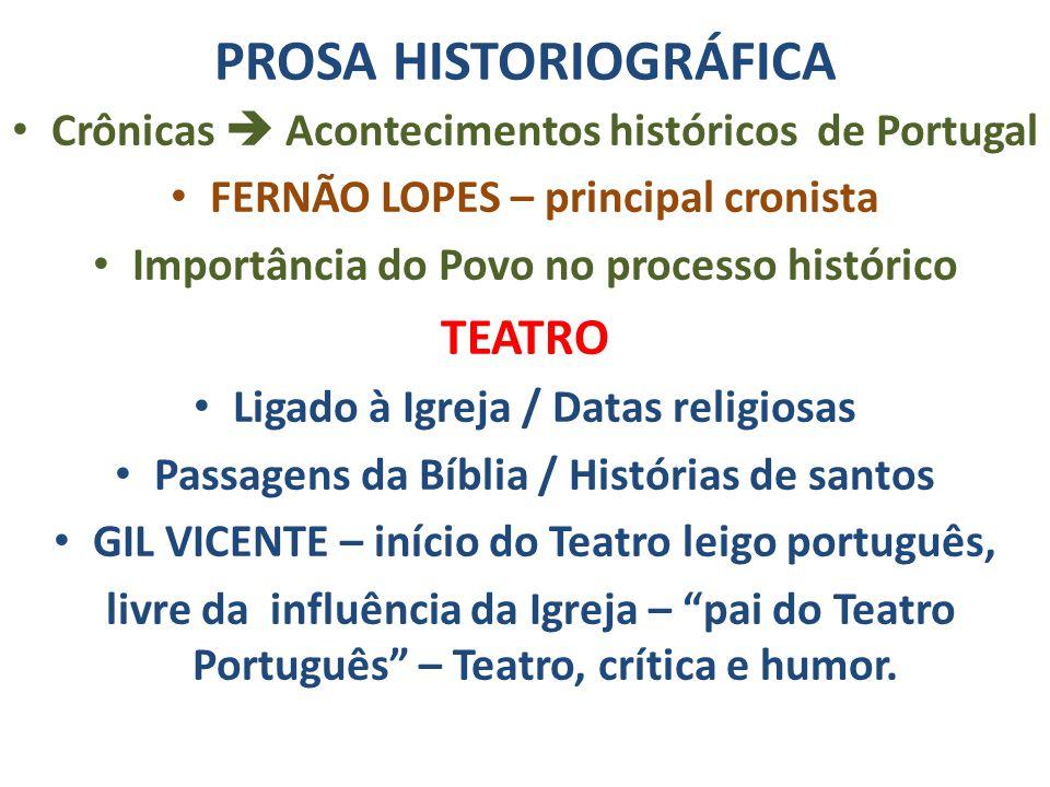 PROSA HISTORIOGRÁFICA Crônicas  Acontecimentos históricos de Portugal FERNÃO LOPES – principal cronista Importância do Povo no processo histórico TEA