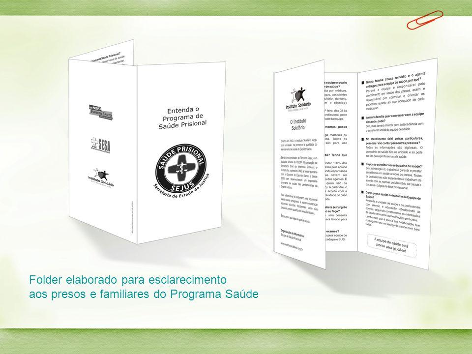 Folder elaborado para esclarecimento aos presos e familiares do Programa Saúde
