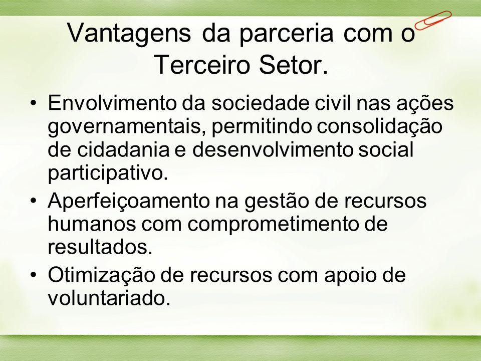 Vantagens da parceria com o Terceiro Setor. Envolvimento da sociedade civil nas ações governamentais, permitindo consolidação de cidadania e desenvolv