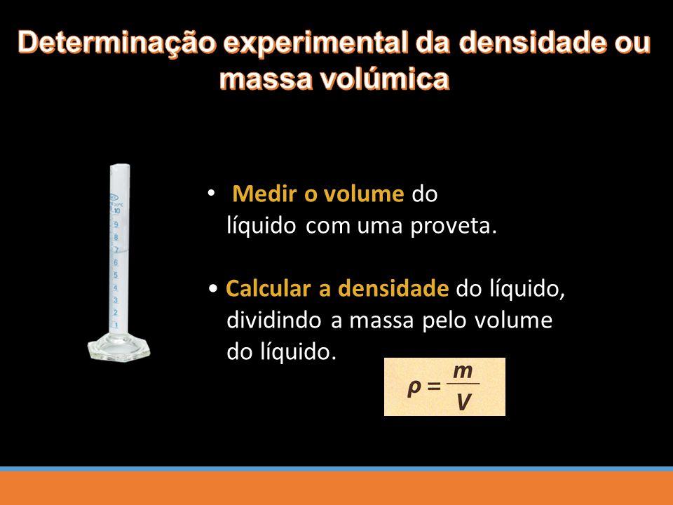 Medir o volume do líquido com uma proveta. Calcular a densidade do líquido, dividindo a massa pelo volume do líquido.