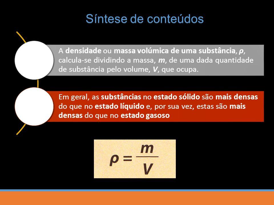 A densidade ou massa volúmica de uma substância, ρ, calcula-se dividindo a massa, m, de uma dada quantidade de substância pelo volume, V, que ocupa.