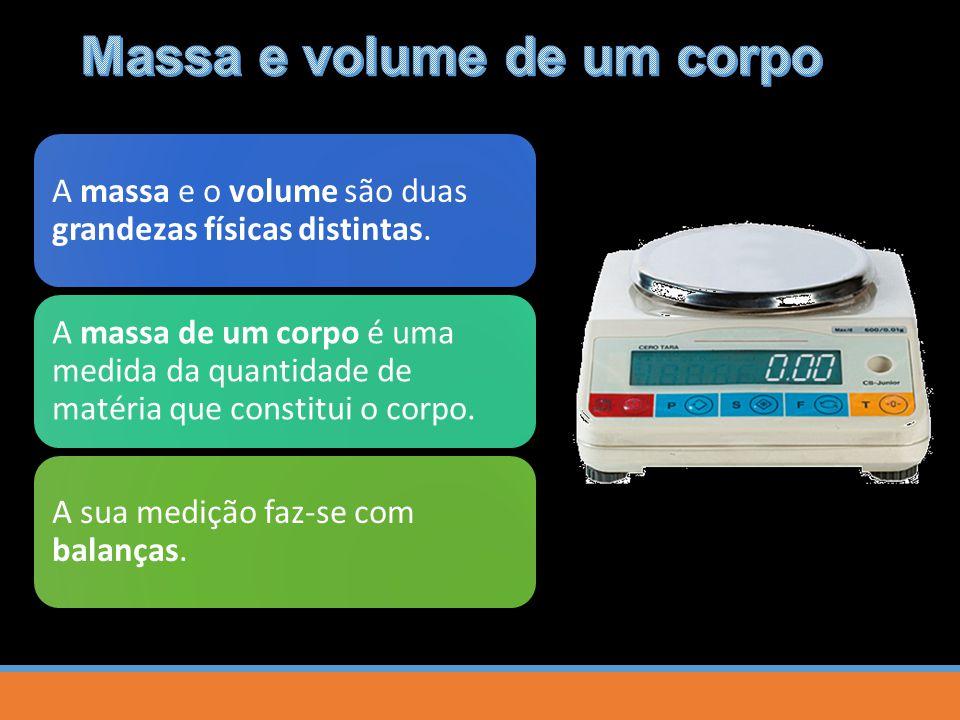 A massa e o volume são duas grandezas físicas distintas. A massa de um corpo é uma medida da quantidade de matéria que constitui o corpo. A sua mediçã