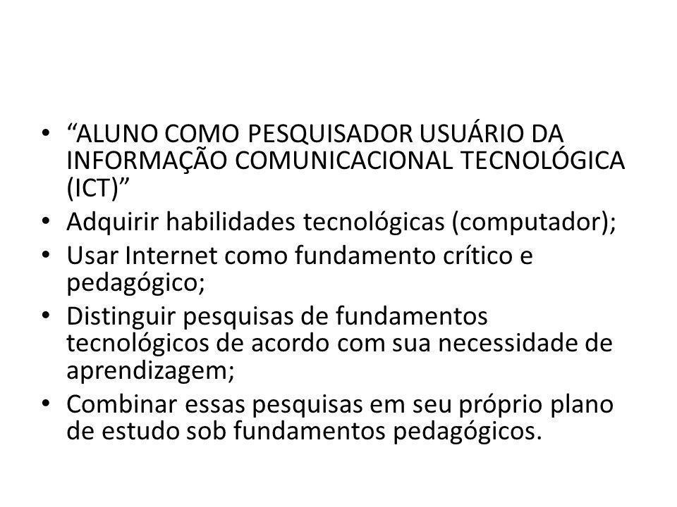 """""""ALUNO COMO PESQUISADOR USUÁRIO DA INFORMAÇÃO COMUNICACIONAL TECNOLÓGICA (ICT)"""" Adquirir habilidades tecnológicas (computador); Usar Internet como fun"""
