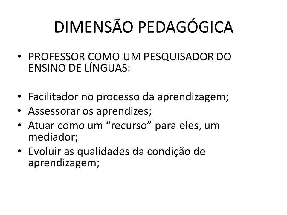 DIMENSÃO PEDAGÓGICA PROFESSOR COMO UM PESQUISADOR DO ENSINO DE LÍNGUAS: Facilitador no processo da aprendizagem; Assessorar os aprendizes; Atuar como