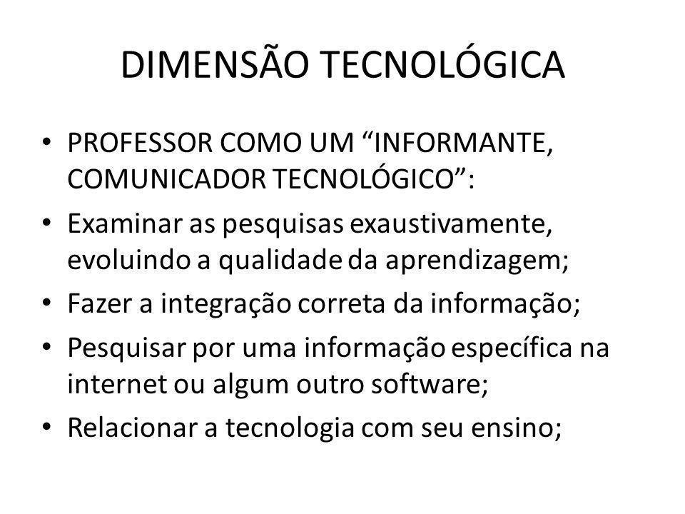 """DIMENSÃO TECNOLÓGICA PROFESSOR COMO UM """"INFORMANTE, COMUNICADOR TECNOLÓGICO"""": Examinar as pesquisas exaustivamente, evoluindo a qualidade da aprendiza"""