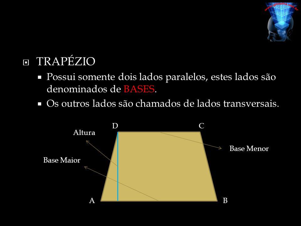  TRAPÉZIO ESCALENO  Quando seus lados transversais são diferentes;  TRAPÉZIO ISÓSCELES  Quando seus lados transversais são congruentes;  TRAPÉZIO RETÂNGULO  Quando dos de seus ângulos internos são retos.
