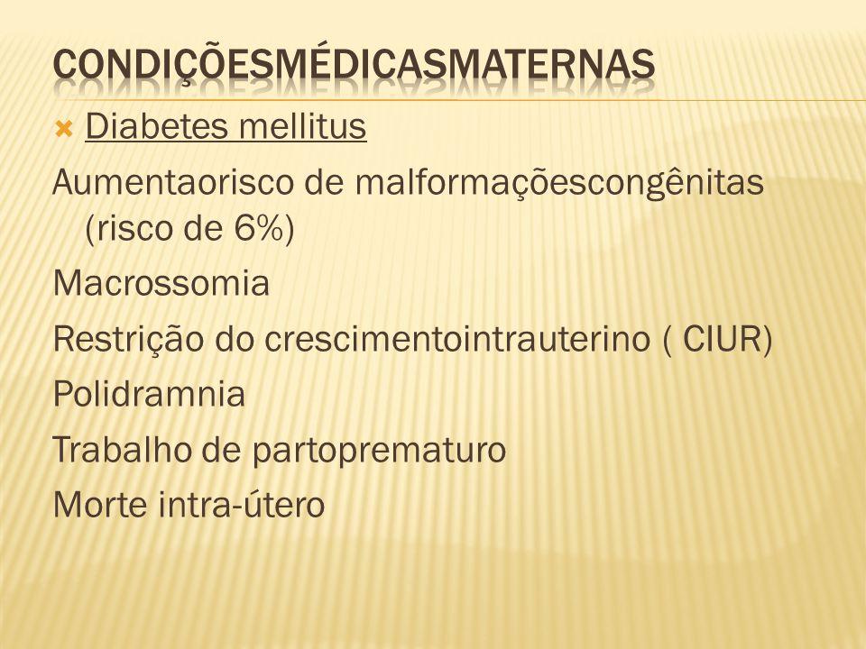  Diabetes mellitus Aumentaorisco de malformaçõescongênitas (risco de 6%) Macrossomia Restrição do crescimentointrauterino ( CIUR) Polidramnia Trabalh