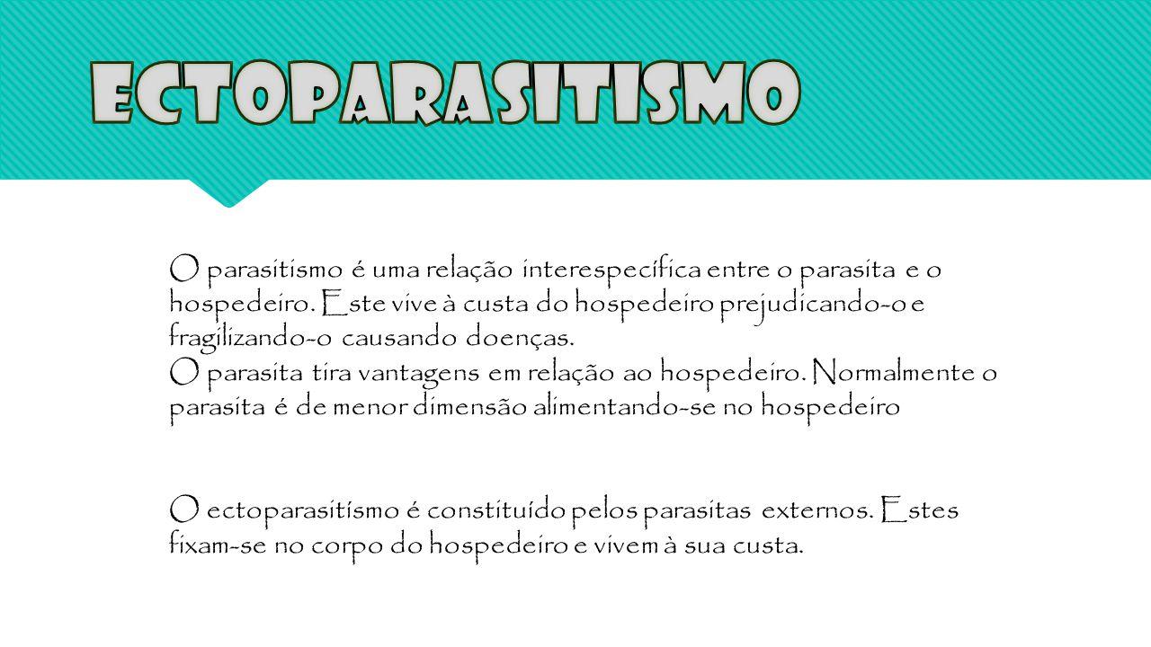 O parasitismo é uma relação interespecífica entre o parasita e o hospedeiro. Este vive à custa do hospedeiro prejudicando-o e fragilizando-o causando