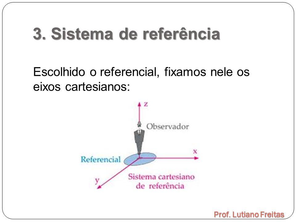 3. Sistema de referência Prof. Lutiano Freitas Escolhido o referencial, fixamos nele os eixos cartesianos: