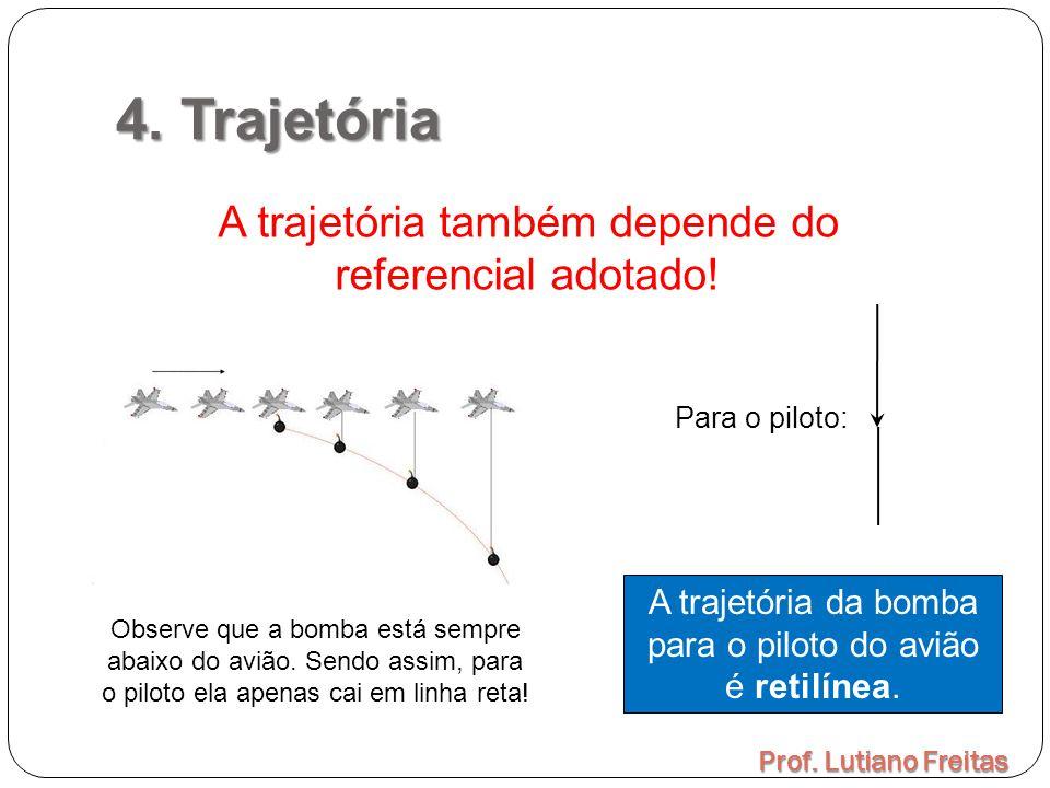 4. Trajetória Prof. Lutiano Freitas A trajetória também depende do referencial adotado! A trajetória da bomba para o piloto do avião é retilínea. Obse