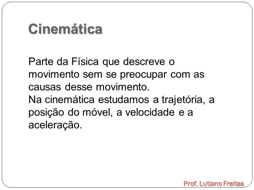 Cinemática Prof. Lutiano Freitas Parte da Física que descreve o movimento sem se preocupar com as causas desse movimento. Na cinemática estudamos a tr