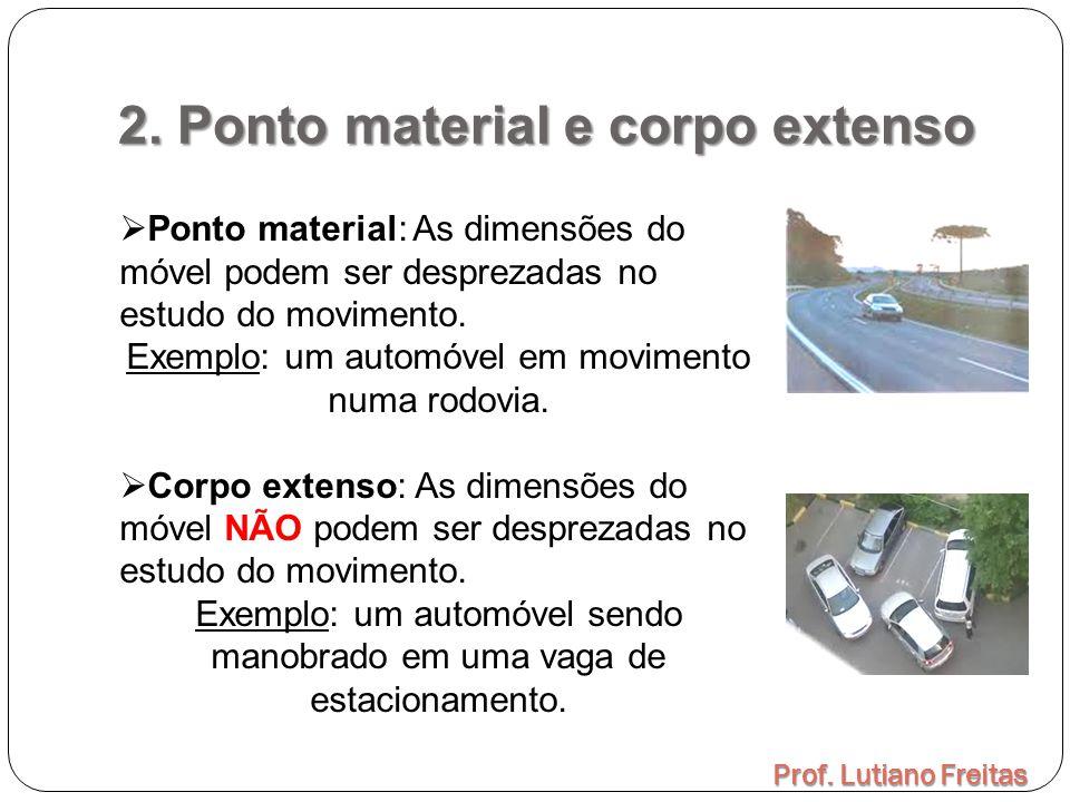 2. Ponto material e corpo extenso Prof. Lutiano Freitas  Ponto material: As dimensões do móvel podem ser desprezadas no estudo do movimento. Exemplo: