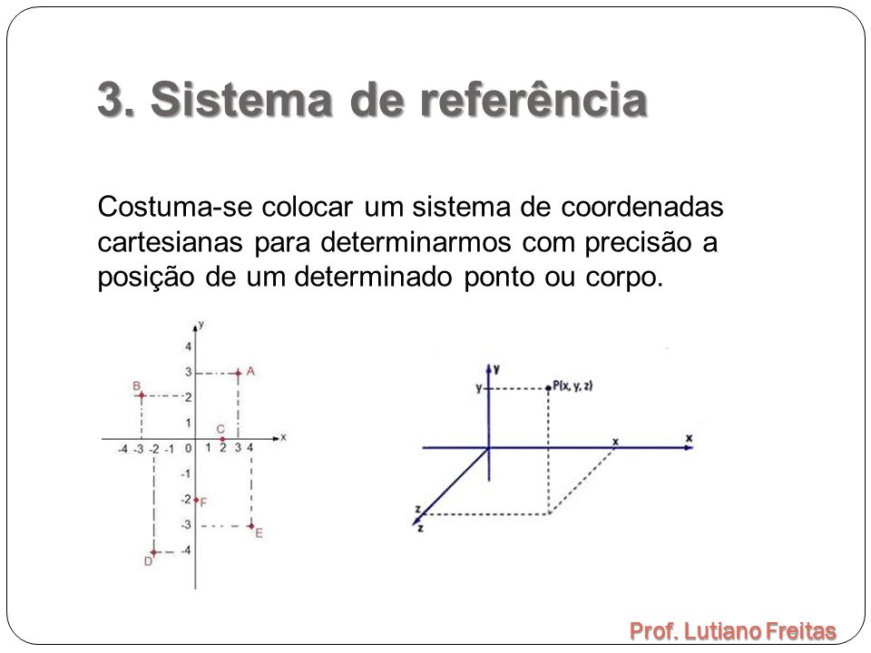 3. Sistema de referência Prof. Lutiano Freitas Costuma-se colocar um sistema de coordenadas cartesianas para determinarmos com precisão a posição de u
