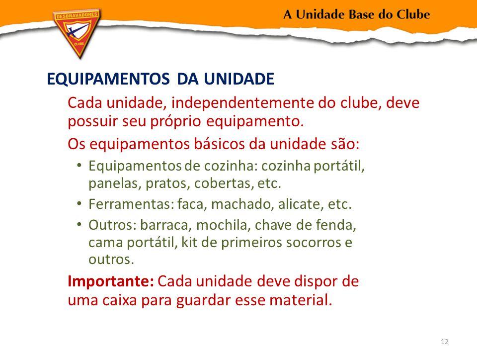 EQUIPAMENTOS DA UNIDADE Cada unidade, independentemente do clube, deve possuir seu próprio equipamento. Os equipamentos básicos da unidade são: Equipa