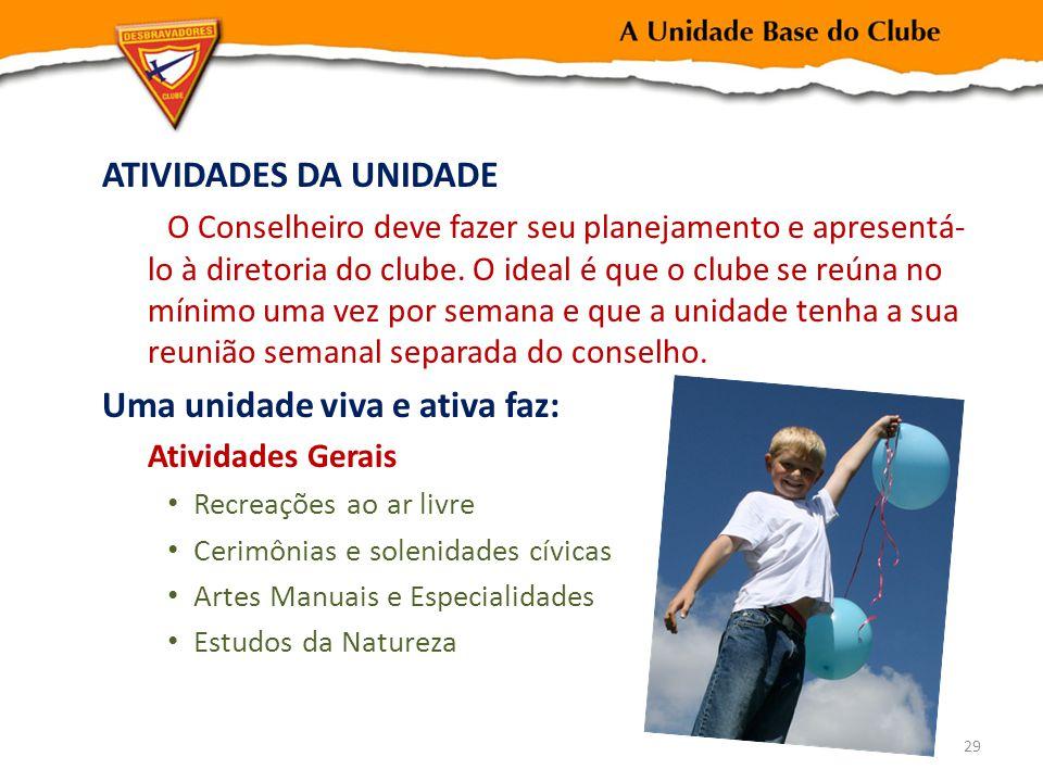 ATIVIDADES DA UNIDADE O Conselheiro deve fazer seu planejamento e apresentá- lo à diretoria do clube.