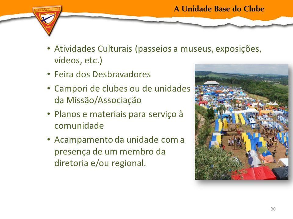 Atividades Culturais (passeios a museus, exposições, vídeos, etc.) Feira dos Desbravadores Campori de clubes ou de unidades da Missão/Associação Plano