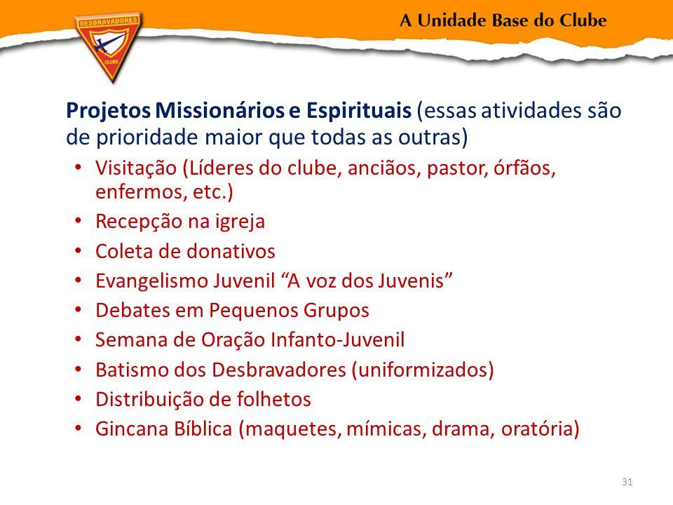 Projetos Missionários e Espirituais (essas atividades são de prioridade maior que todas as outras) Visitação (Líderes do clube, anciãos, pastor, órfão