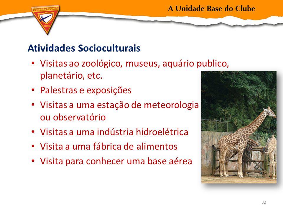 Atividades Socioculturais Visitas ao zoológico, museus, aquário publico, planetário, etc. Palestras e exposições Visitas a uma estação de meteorologia