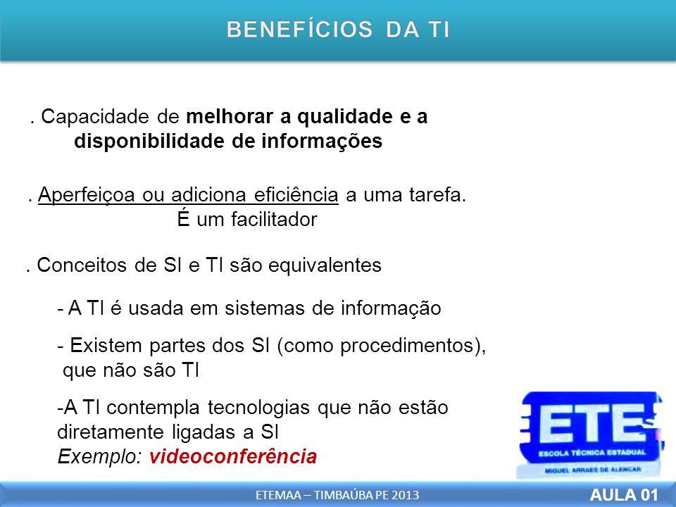 Capacidade de melhorar a qualidade e a disponibilidade de informações -A TI contempla tecnologias que não estão diretamente ligadas a SI Exemplo: videoconferência.